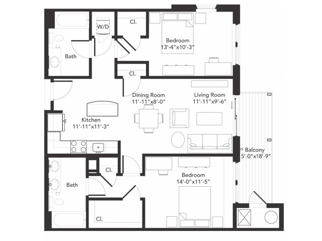 Two bedroom two bathroom B3 floorplan at 7001 Arlington in Bethesda, MD