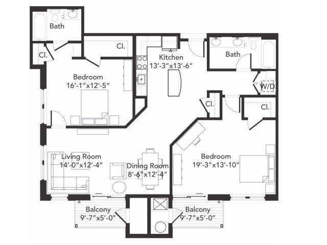Two bedroom two bathroom B9 floorplan at 7001 Arlington in Bethesda, MD