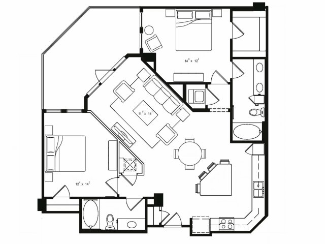 Two bedroom two bathroom B2 floor plan at Cantabria at Turtle Creek Apartments in Dallas, TX