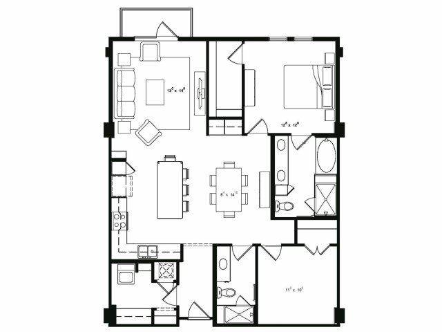 One bedroom two bathroom A81 floor plan at Cantabria at Turtle Creek Apartments in Dallas, TX