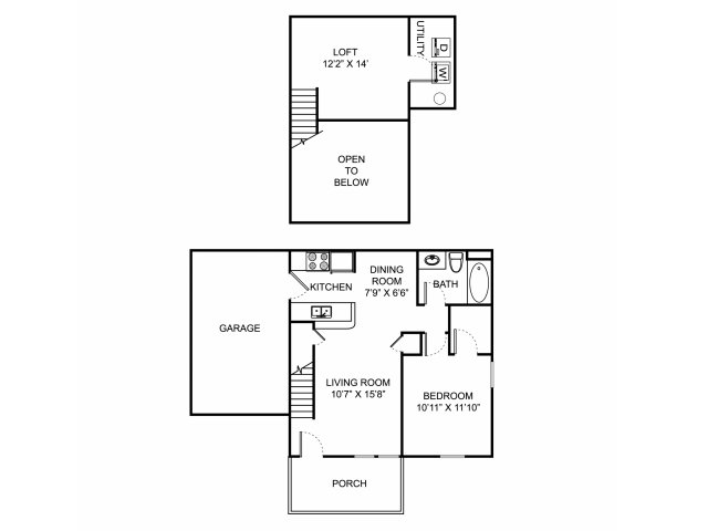 One bedroom one bathroom A2THL floorplan at The Village at Avon Apartments in Avon, OH