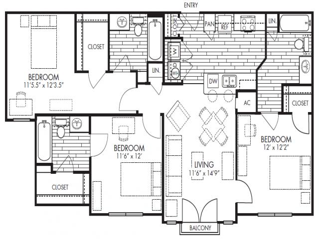 3bd/3ba floor plan