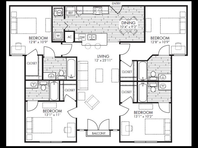 4bd/4ba Maverick floor plan