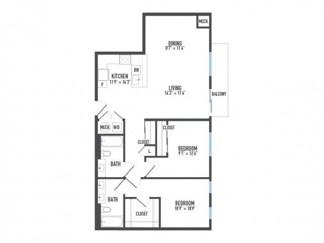 Floor Plan 16 | Luxury Pittsburgh Apartments | Arsenal 201