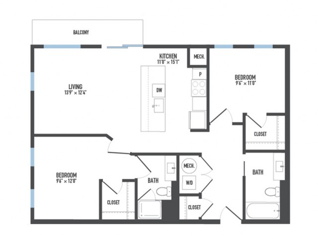 Floor Plan 17 | 1 Bedroom Apartments Pittsburgh Pa | Arsenal 201