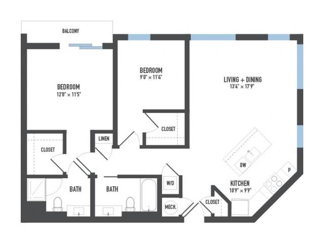 Floor Plan 19   Luxury Apartments Pittsburgh Pa   Arsenal 201
