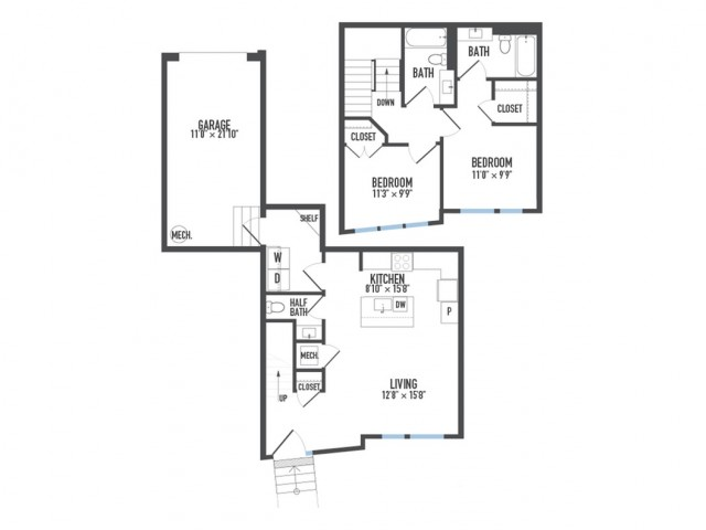 Floor Plan 27 | 1 Bedroom Apartments Pittsburgh Pa | Arsenal 201