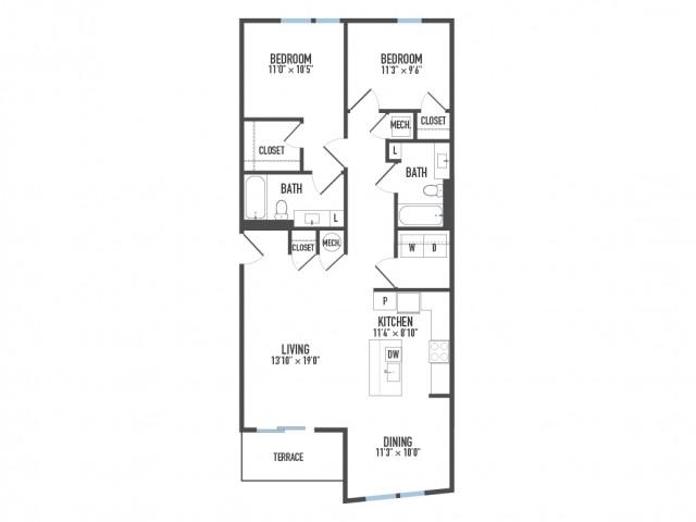 Floor Plan 28   Pittsburgh Apartments   Arsenal 201