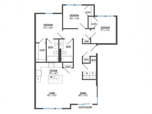 Floor Plan 31   Luxury Pittsburgh Apartments   Arsenal 201