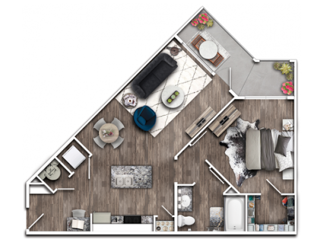 1 Bdrm Floor Plan | 1,2,3 Bedroom apartments Plainfield IN | Echo Park at Perry Crossing 1