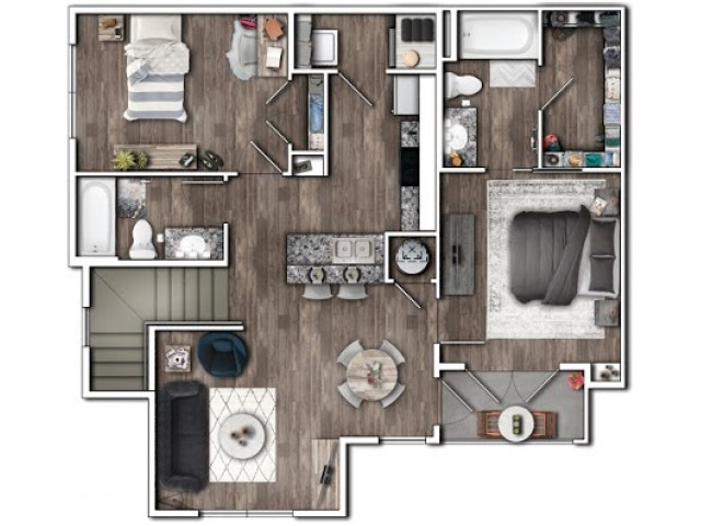2 Bedroom Floor Plan | Luxury Apartments In Plainfield Indiana | Echo Park at Perry Crossing 2