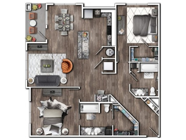 2 Bedroom Floor Plan | Luxury Apartments In Plainfield Indiana | Echo Park at Perry Crossing 3
