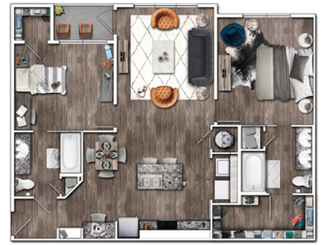 2 Bdrm Floor Plan | Apartments Near Indianapolis IN | Echo Park at Perry Crossing