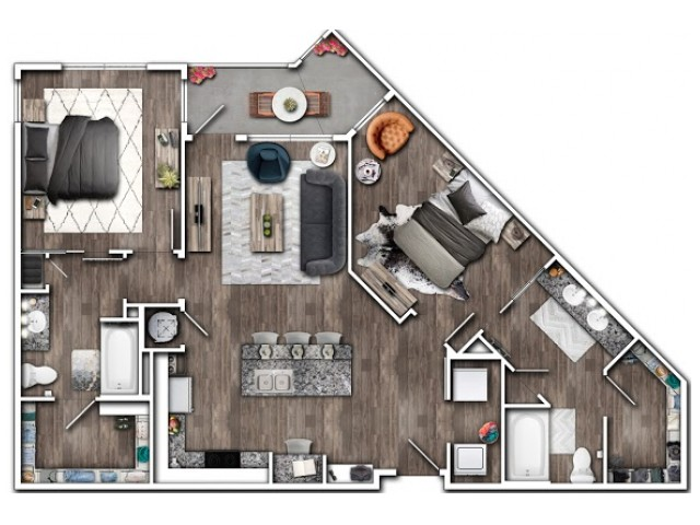 2 Bdrm Floor Plan | Apartments Near Indianapolis IN | Echo Park at Perry Crossing 2