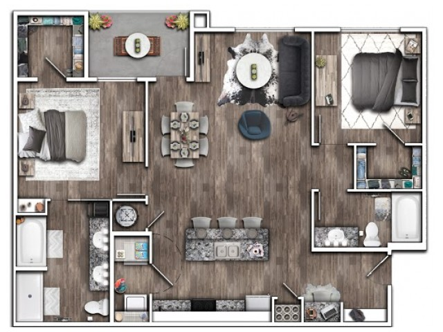 2 Bdrm Floor Plan | Apartments Near Indianapolis IN | Echo Park at Perry Crossing 1