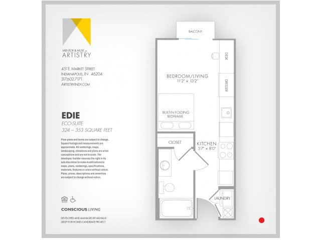 Studio Floor Plan | Apartment Rental Indianapolis | Artistry