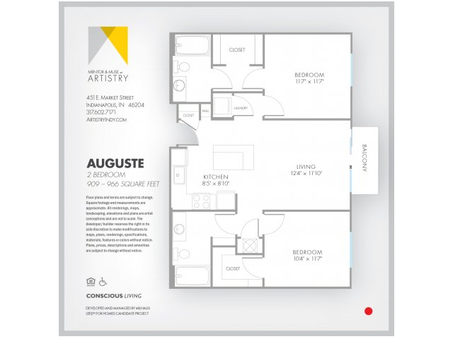 2 Bedroom Floor Plan | Apartment Rental Indianapolis | Artistry