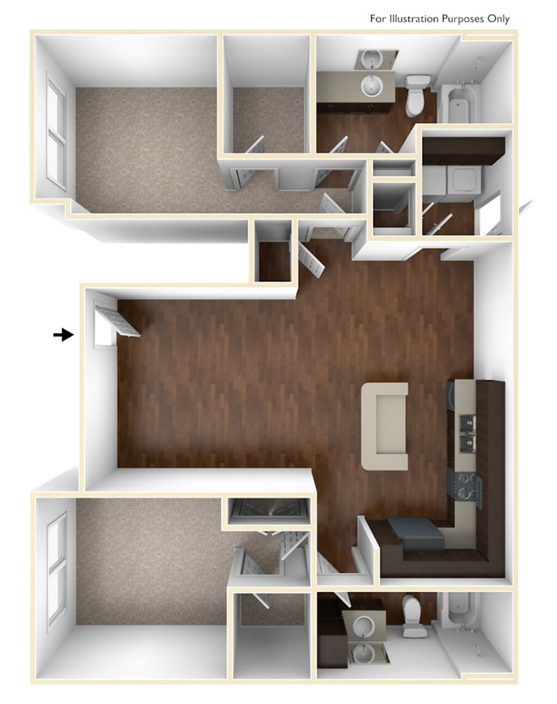 A 3D Drawing of the B2 Floor Plan
