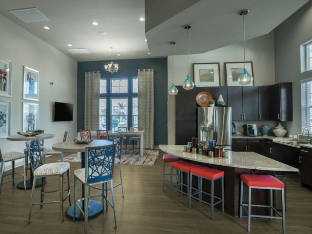 Image of Community Clubhouse with Leasing Offices, WiFi, Coffee Bar and Fireplace for Longitude 81