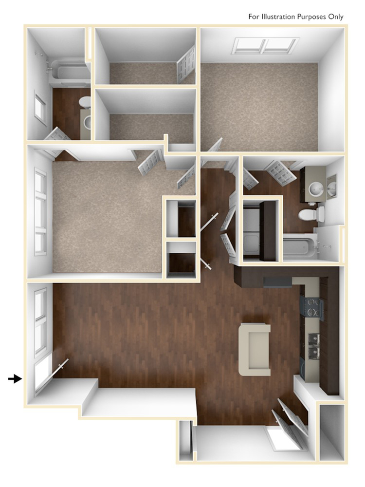 A 3D Drawing of the B1 Floor Plan