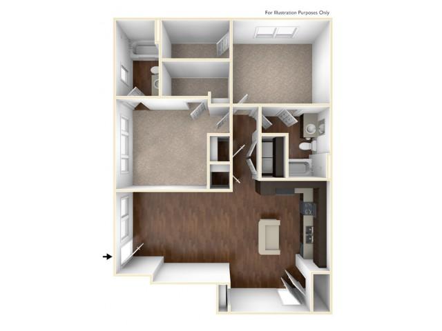 A 3D Drawing Of The B1U Floor plan