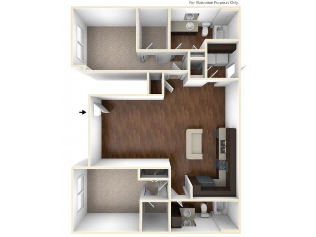 A 3D Drawing Of The B2U Floor plan