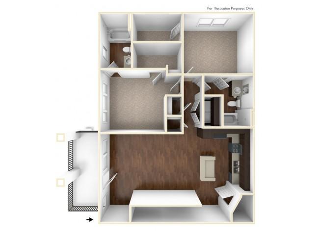 A 3D Drawing Of The B3U Floor plan