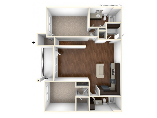 A 3D Drawing Of The B4U Floor plan