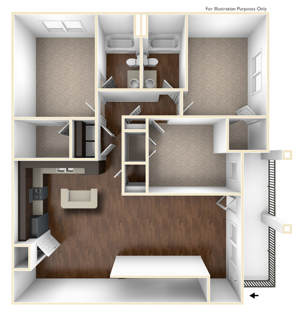 A 3D Drawing Of The C2U Floor plan