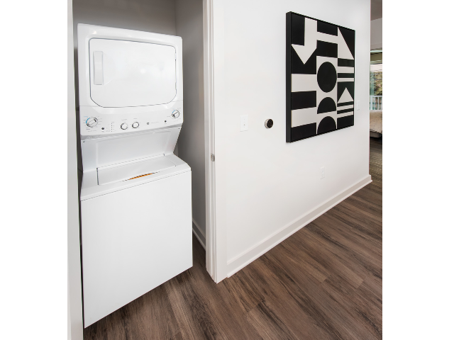 washer and dryer with wall