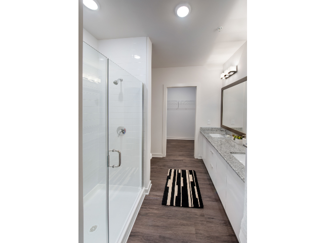 standing glass shower in furnished bathroom
