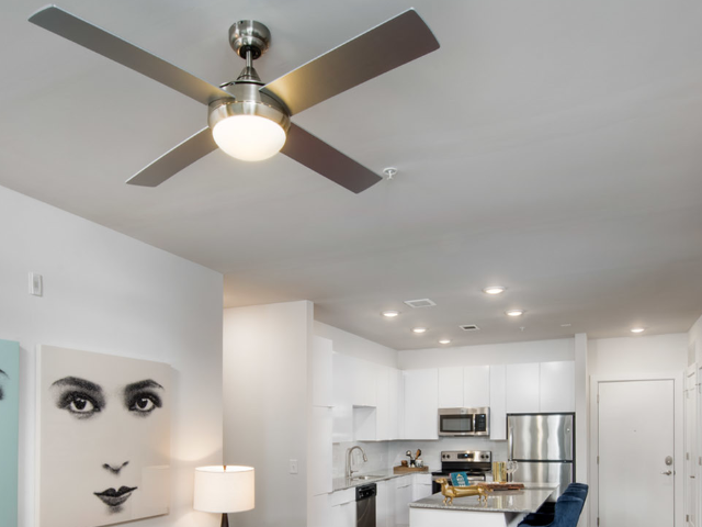 ceiling fans and lights in apartment