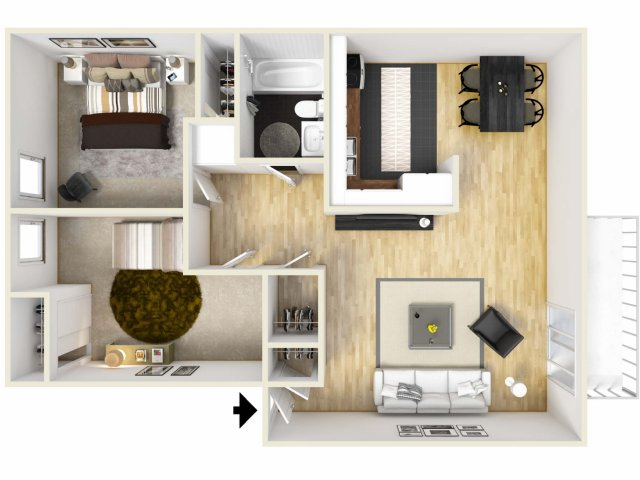 For The Two Bedroom Furnished Floor Plan