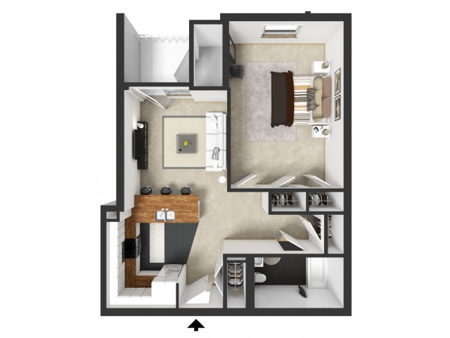For The One Bedroom Furnished Floor Plan