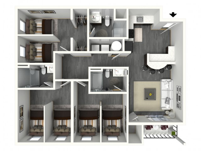3 Bed - Medium - 3D - Furnished