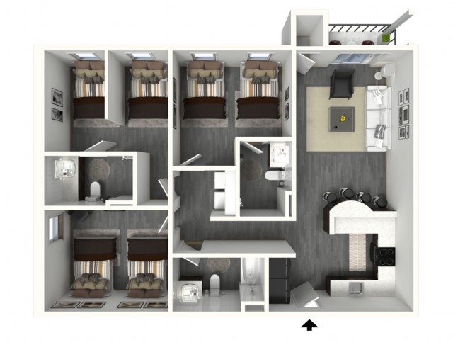3 Bed - Standard - 3D - Furnished