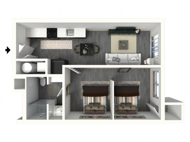 1 Bed - Standard - 3D - Furnished