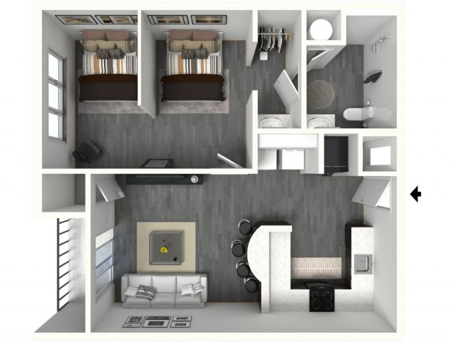 1 Bed - Large - 3D - Furnished