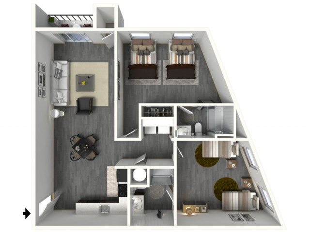 2 Bed - Standard - 3D - Furnished