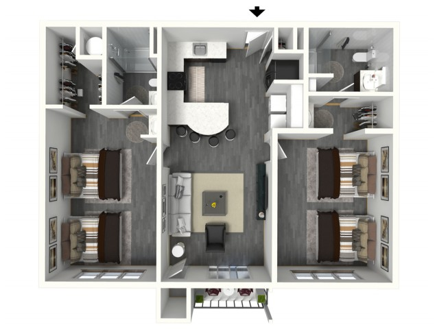 2 Bed - Large - 3D - Furnished