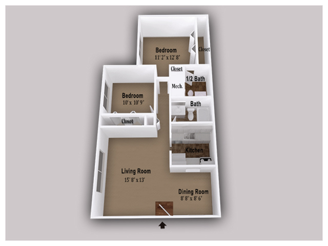 864 Square Feet 2 Bed 1.5 Bath