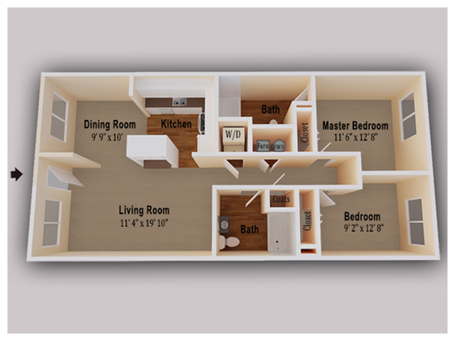 Our spacious 2 Bed/2 Bath floorplan