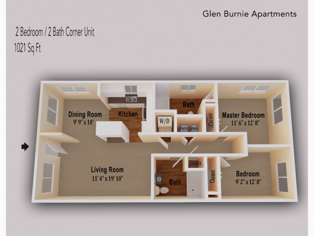 2 Bedroom corner unit with extra windows