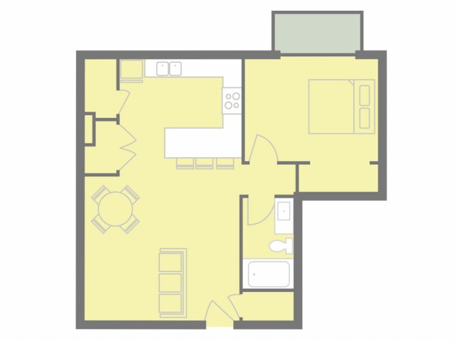 1 bed, 1 ath 