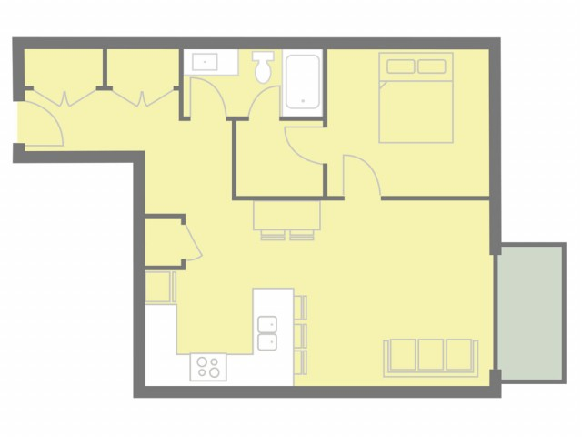 1 bed, 1 bath