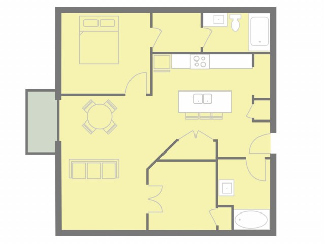 1 bed plus den, 2 bath