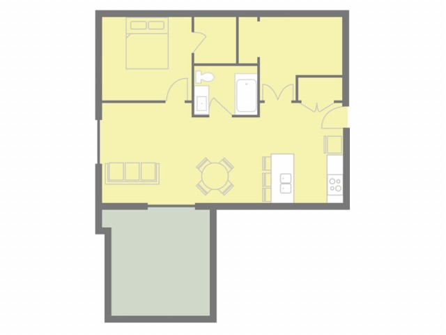 1 bed, 1 bath, with den