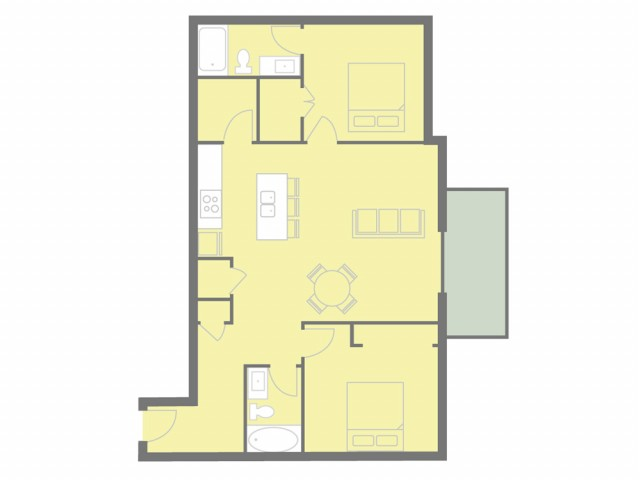 2 bed, 2 bath