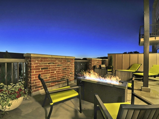 Image of Rooftop Garden with Lounge Seating, Fire Pit and Gas Barbeque for Sugar House Apartments by Urbana