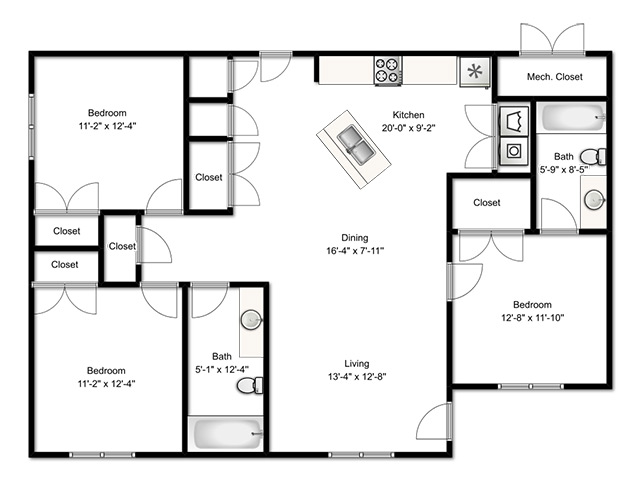 All Floor Plans3 Bedroom Apartment